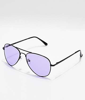37943c3df62 Aviator Shiny Black   Purple Sunglasses
