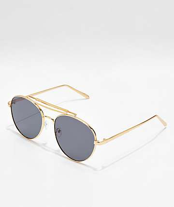 Aviator Shiny Gold & Smoke Sunglasses