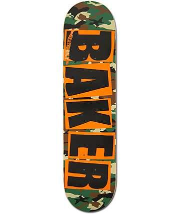 "Baker Camo & Orange Brand Logo 7.75""  Team Model Skateboard Deck"