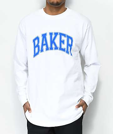 Baker Lakeland White & Blue Long Sleeve T-Shirt