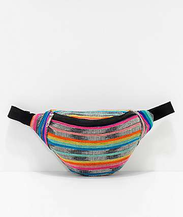 Barganza Color Pop Stripe Woven Fanny Pack