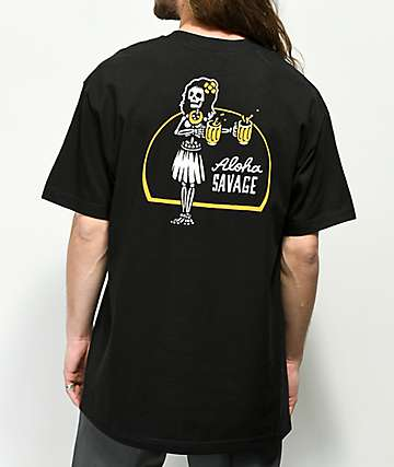 Beer Savage Aloha Savage camiseta negra