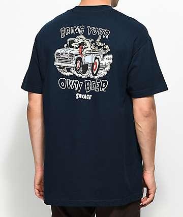 Beer Savage BYOB Truckin camiseta en azul marino