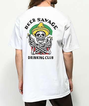 Beer Savage Borracho camiseta blanca