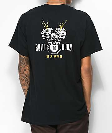 Beer Savage Built To Booze Black T-Shirt