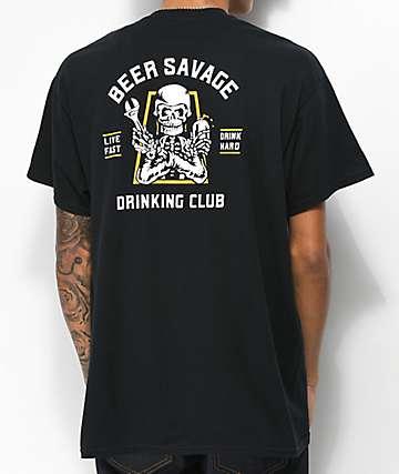 Beer Savage Motor Club camiseta negra