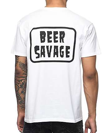 Beer Savage Patched White T-Shirt