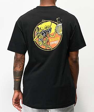 Beer Savage Pizza & Beer Black T-Shirt