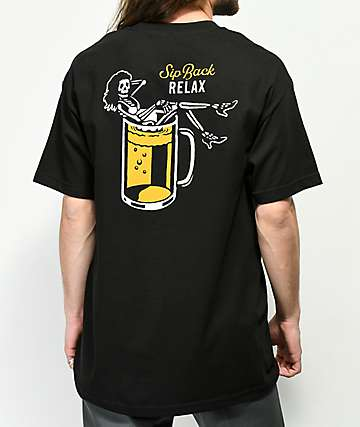 Beer Savage Sip Back Relax camiseta negra