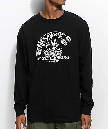 Beer Savage Sport Drinking Black Long Sleeve T-Shirt