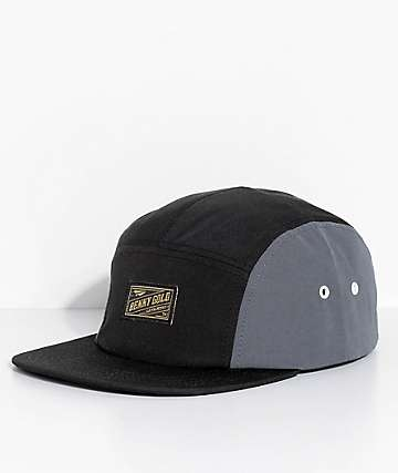 Benny Gold 60⁄40 Black 5 Panel Strapback Hat