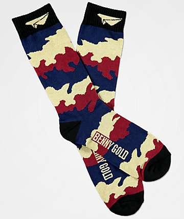 Benny Gold Fog Camo & Merlot Crew Socks