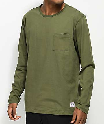 Benny Gold Sideline Olive Long Sleeve Pocket T-Shirt