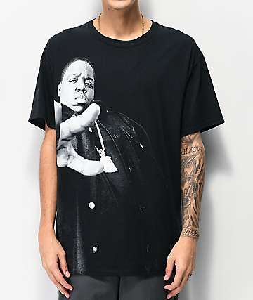 Biggie Close Up Hands Black T-Shirt