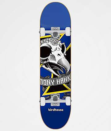 "Birdhouse Hawk Oversized Skull 7.38"" Skateboard Complete"