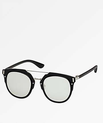 Black & Grey Mirror Flat Sunglasses