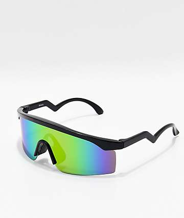 Black & Multicolored Oversized Shield Sunglasses