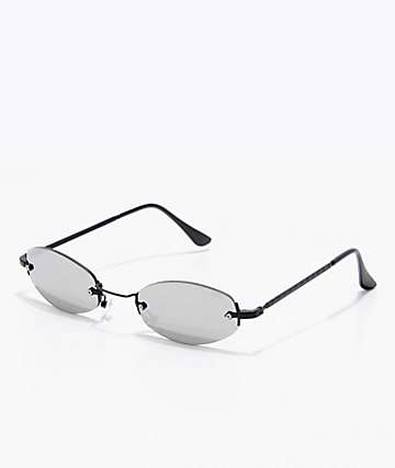 Black & Silver Mini Oval Sunglasses