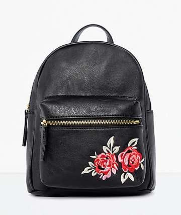 Black Rose Embroidered Mini Backpack
