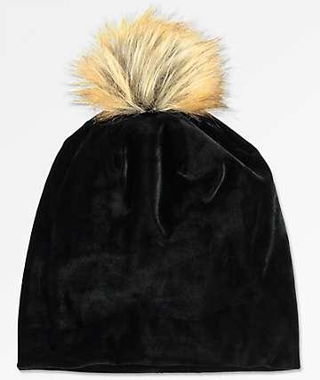 Black Velvet Faux Pom Beanie