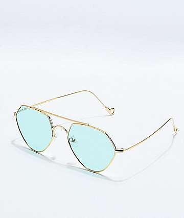 Blue & Gold Pentagon Sunglasses