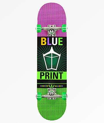 "Blueprint Pachinko Purple & Green 7.87"" Skateboard Complete"