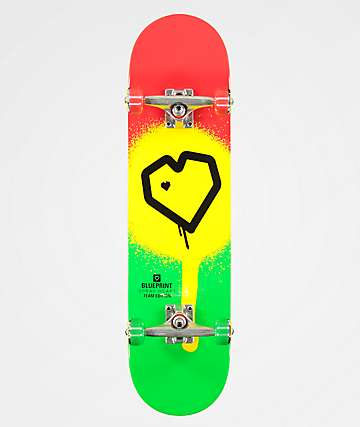 "Blueprint Spray Heart Rasta 8.0"" Skateboard Complete"