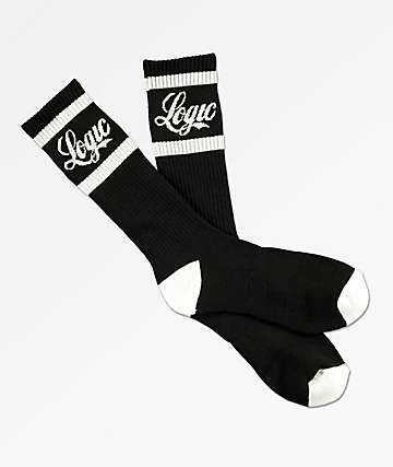 Bobby Tarantino by Logic Logo Script Black Crew Socks