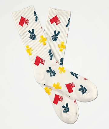 Bobby Tarantino by Logic Peace, Love and Positivity White Crew Socks