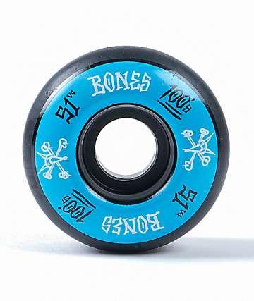 Bones 100 Ringers 51mm ruedas de skate azules y negras