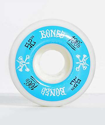 Bones 100 Ringers 52mm Blue & White Skateboard Wheels
