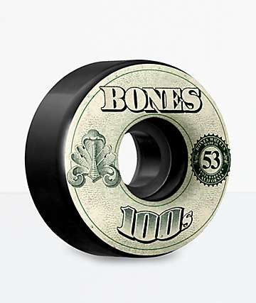 Bones 100s Black 53mm Skateboard Wheels