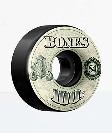 Bones 100s Black 54mm Skateboard Wheels