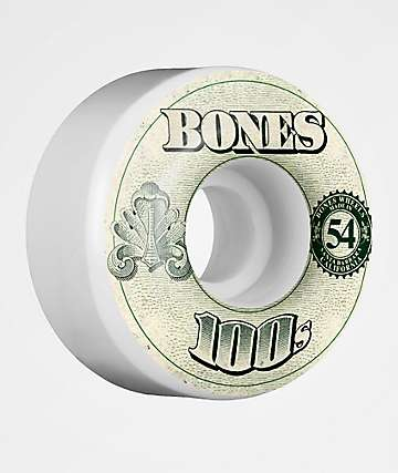 Bones 100s White 54mm Skateboard Wheels