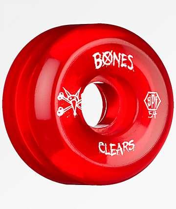 Bones Clear Red SPF 54mm 104a Skateboard Wheels