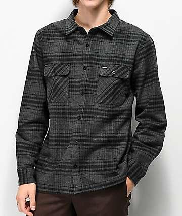 Brixton Archie Black & Heather Grey Flannel Shirt