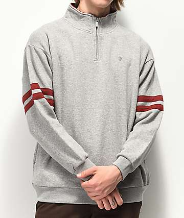 Brixton B Shield Grey Quarter Zip Sweatshirt