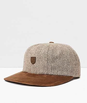 Brixton B-Shield III Brown Tweed Strapback Hat