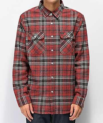 Brixton Bowery Brick Red Flannel Shirt
