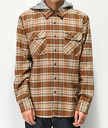 Brixton Bowery Brown Hooded Flannel Shirt