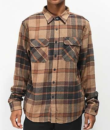 Brixton Bowery Cream, Copper & Navy Flannel Shirt