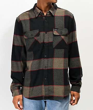 Brixton Bowery Grey & Charcoal Flannel Shirt