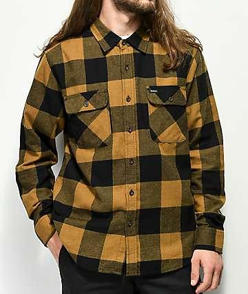 Brixton Bowery camisa de franela dorada y negra