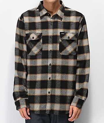 Brixton Bowery camisa de franela negra y gris