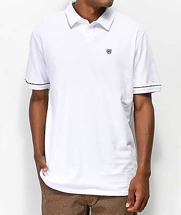 Brixton Carlos White Polo Shirt