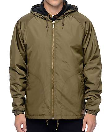 Brixton Claxton Olive Hooded Windbreaker Jacket