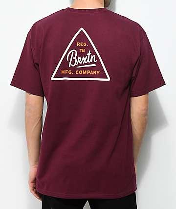 Brixton Cue Burgundy T-Shirt