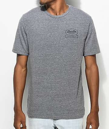 Brixton Dale Heather Grey & Navy Premium T-Shirt