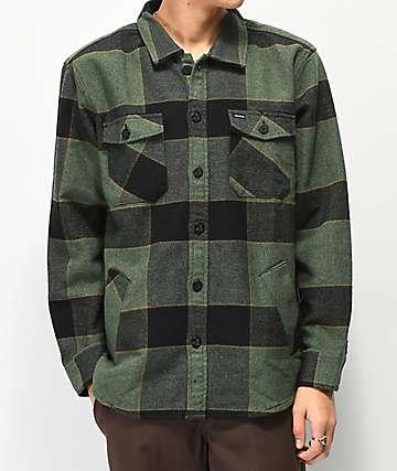 Brixton Durham camisa de franela verde y negra