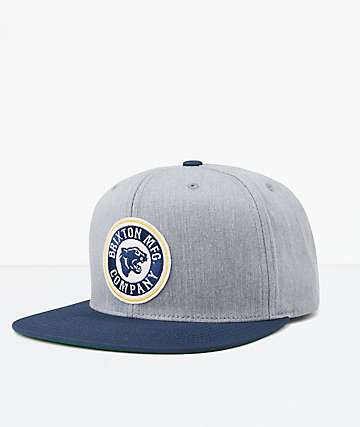 Brixton Forte Heather Grey & Navy Snapback Hat